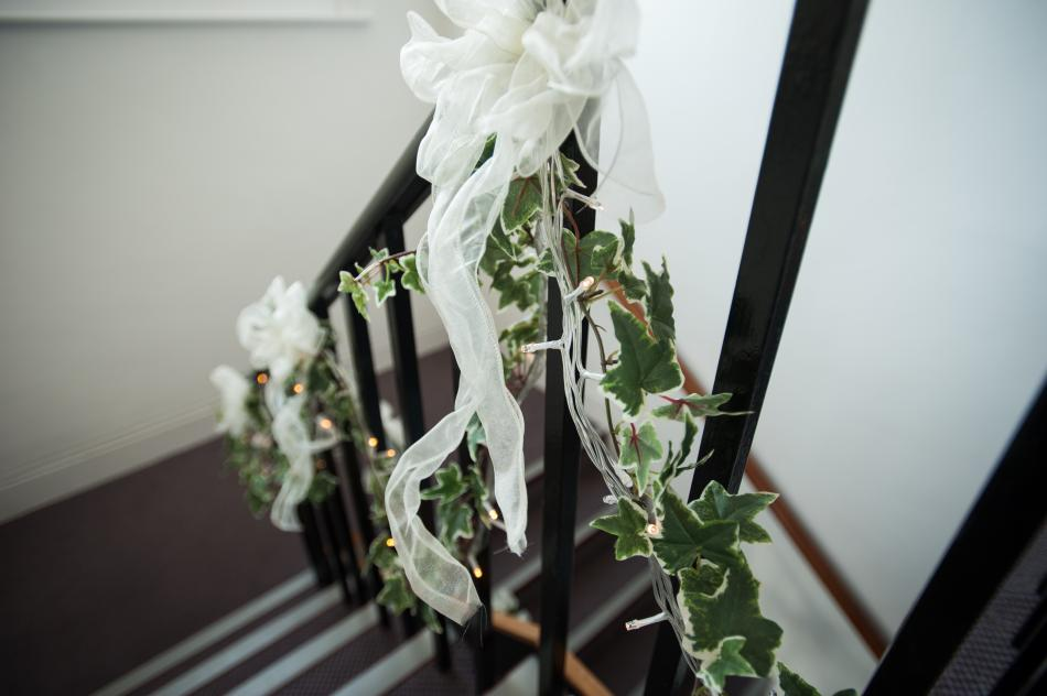 New Millennium Chamber Room's wedding decor on steps up