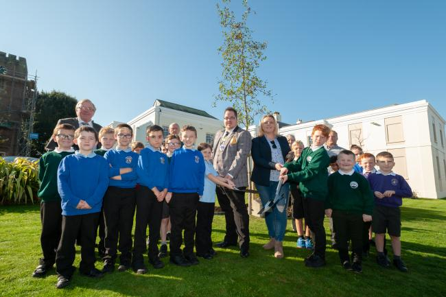Royal Trees being planted by Mayor and Children