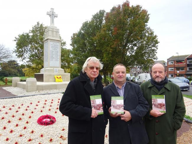 David Twinn, Councillor Ian Buckland and Peter Walton At the Littlehampton and the great war book launch