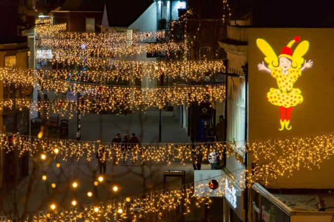 Aerial Shot of Christmas illuminations in the High Street