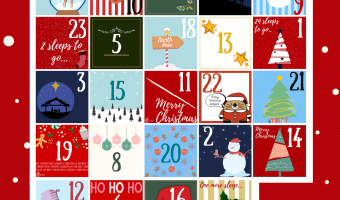 Advent calendar visual with numbers for each door.